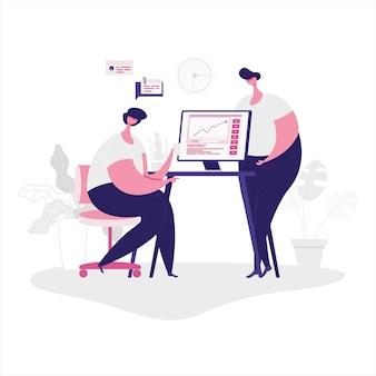 Illustrazione piana di una squadra che lavora insieme per il successo aziendale.