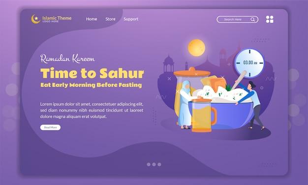 Illustrazione piatta del tempo per sahur o mangiare la mattina presto prima del digiuno sulla pagina di destinazione