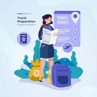 Illustrazione piatta del concetto di elenco di preparazione del viaggio