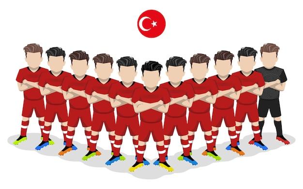 Illustrazione piana della squadra di calcio nazionale della turchia per la concorrenza europea