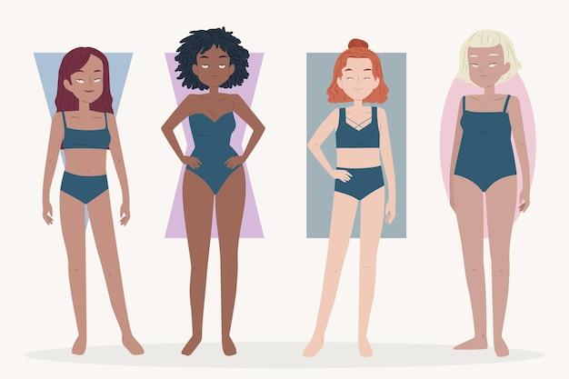 Tipi di illustrazione piatto di forme del corpo femminile