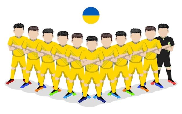 Illustrazione piana della squadra di calcio nazionale ucraina per la competizione europea