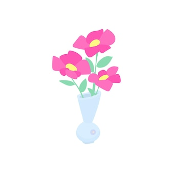 Illustrazione piana di un vaso con fiori per la stampa. concetto per la decorazione d'interni nel cartone animato. illustrazione vettoriale.