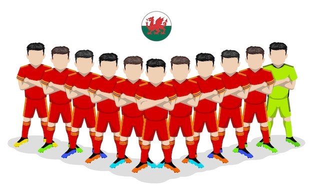 Illustrazione piana della squadra di calcio nazionale del galles per la competizione europea