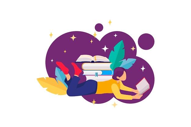 Illustrazione piatta con pile di libri e ragazza che legge ed elementi floreali concetto di lettura del libro