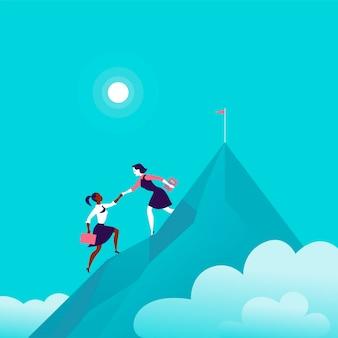 Illustrazione piatta con donne d'affari che si arrampicano insieme sulla cima di una montagna su sfondo blu cielo nuvoloso. lavoro di squadra, realizzazione, raggiungimento dell'obiettivo, collaborazione, motivazione, supporto, - metafora.