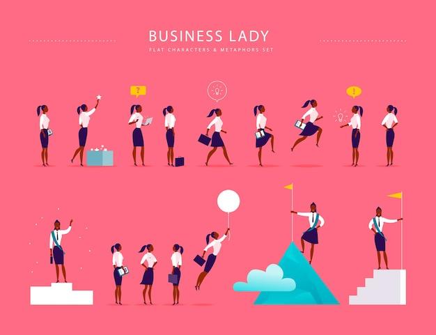 Illustrazione piatta con caratteri e metafore dell'ufficio della signora d'affari isolati su sfondo rosa. ritratti di concetti per diverse situazioni aziendali: leadership, idea, realizzazione, aspirazioni