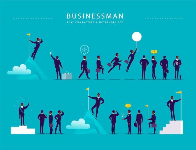 Illustrazione piatta con personaggi ufficio uomo d'affari e metafore isolati su sfondo blu. ritratti di concetti per diverse situazioni aziendali: leadership, idea, realizzazione, aspirazioni.