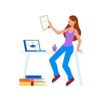 Illustrazione piatta con ragazza che ottiene la laurea dopo aver completato l'istruzione universitaria dei corsi online