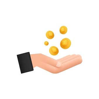 Illustrazione piatta con monete a mano. icona di vettore del sito web. concetto di affari.