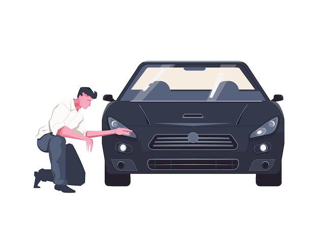 Illustrazione piatta con uomo che esamina auto