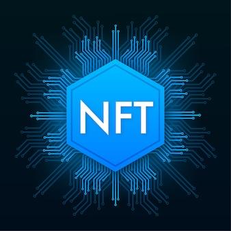 Illustrazione piatta con schermo del laptop nft. vettore di bandiera. design piatto. arte di disegno vettoriale.