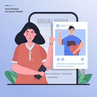 Illustrazione piatta di una donna e del suo ragazzo che pubblicano foto sui social media