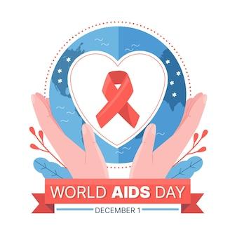 Illustrazione piatta della giornata mondiale contro l'aids