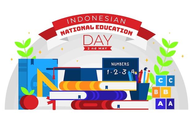 Illustrazione di giorno di educazione nazionale piatto indonesiano