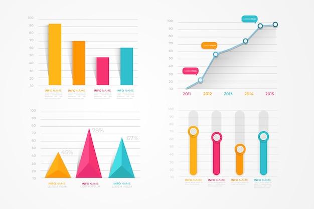 Pacchetto di elementi di infografica piatta