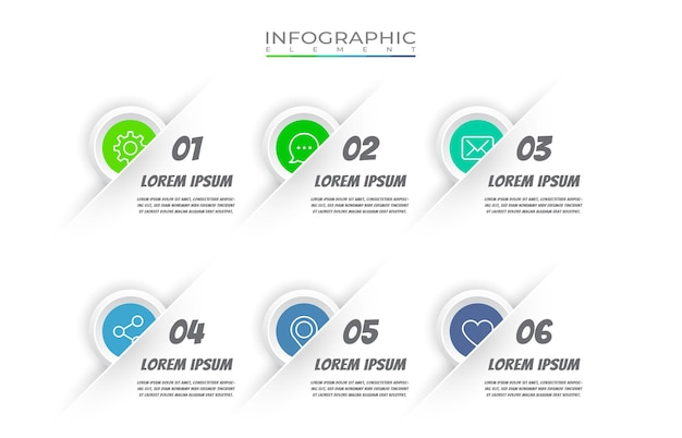 Elemento infografico piatto con set di icone
