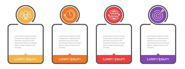 Timeline infografica piatta 4 opzioni