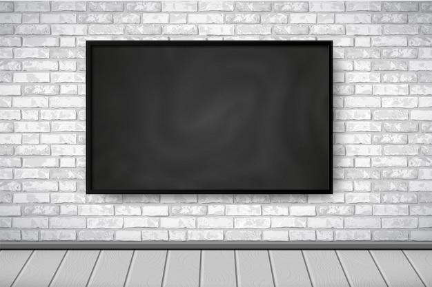 Interno piatto con lavagna nera vuota sul muro di mattoni bianchi, pavimento in legno grigio. priorità bassa di paesaggio della camera loft alla moda, interni della mostra della galleria. illustrazione per web, mockup, esposizione