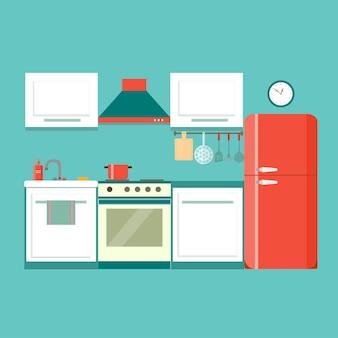 Illustrazione vettoriale di cucina interna piatta