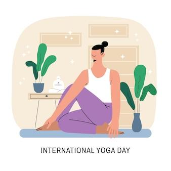 Piatto giornata internazionale di yoga illustrazione