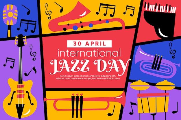Illustrazione del giorno piatto internazionale del jazz