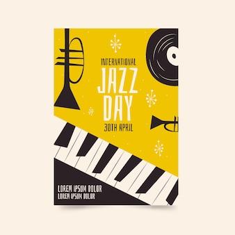Modello di poster piatto giornata internazionale del jazz