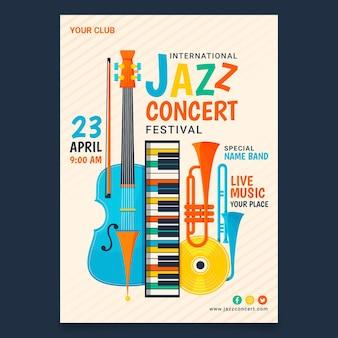 Modello di poster verticale piatto giornata internazionale del jazz