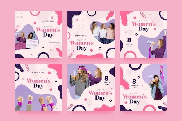 Raccolta di post di instagram per la giornata internazionale della donna piatta