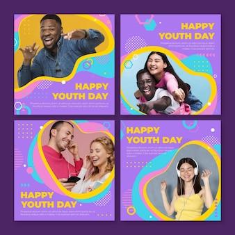 Raccolta di post per la giornata internazionale della gioventù piatta con foto