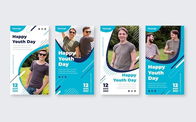 Raccolta di storie piatte per la giornata internazionale della gioventù con foto