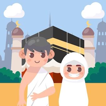 Illustrazione di pellegrinaggio hajj islamico piatto