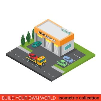 Piatto isometrico servizio di riparazione auto auto building block concetto infografica piccole imprese tre scatole di servizi e soccorso carro attrezzi strada parcheggio su strada costruisci la tua raccolta mondo infografica