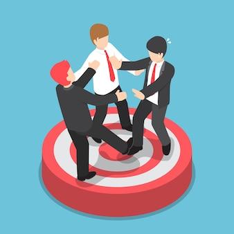 Uomini d'affari isometrici piatti che lottano per stare sul bersaglio, concetto di concorrenza tra le imprese