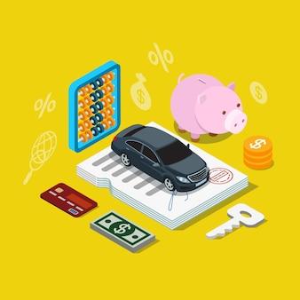 Icona piana isometrica del piano di finanziamento del prestito di credito per auto