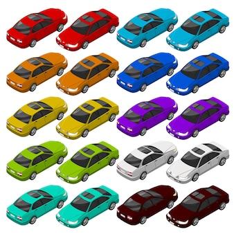Auto isometrica piatta. trasporto urbano di veicoli isometrici.
