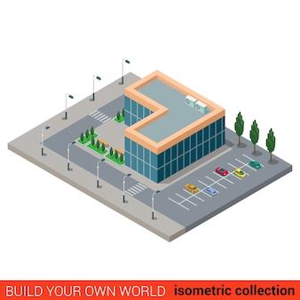 Piatto isometrico città ufficio parcheggio vetro building block infografica concetto costruisci la tua collezione mondo infografica