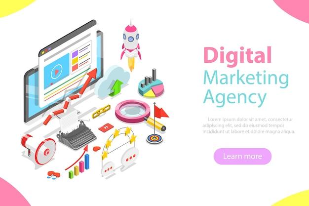 Concetto isometrico piatto dell'agenzia di marketing digitale