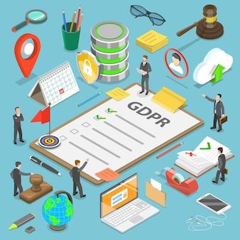 Concetto isometrico piatto di gdpr - regolamento generale sulla protezione dei dati