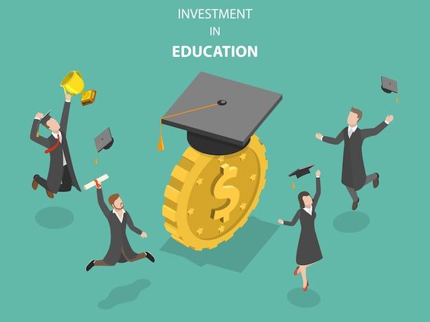 Concetto isometrico piatto di investimento nell'istruzione