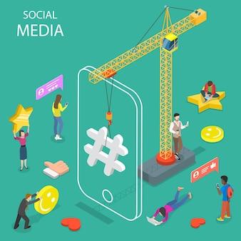 Concetto isometrico piatto dei social media