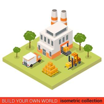 Piatto isometrico trasportatore impianto fabbrica caricamento nastro consegna furgone cassa pallet scatola building block concetto infografica costruisci la tua collezione mondo infografica