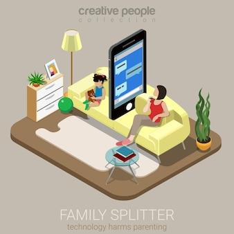 Genitorialità sociale piatto splitter famiglia isometrica
