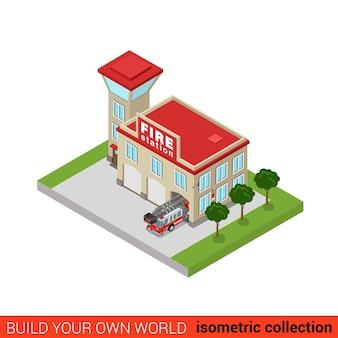Piatto isometrico stazione dei vigili del fuoco edificio concetto infografica servizio di salvataggio servizio torre ufficio camion auto costruisci la tua collezione mondo infografica