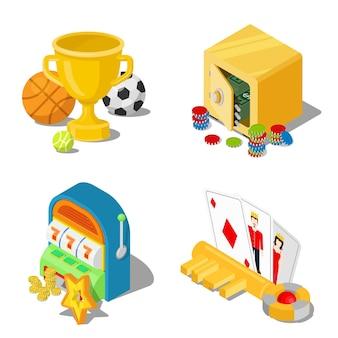 Concetto di puntate di gioco del casinò di gioco d'azzardo isometrico piatto