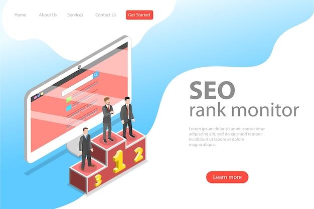 Modello di pagina di destinazione isometrica piatta del monitor di ranking seo, marketing di ottimizzazione del sito web, analisi dei dati web.
