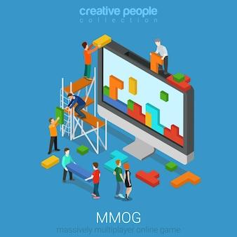 Gioco online multiplayer di massa mmog isometrico piatto