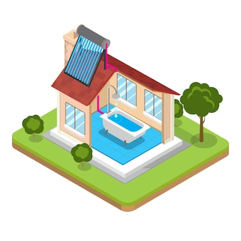Piatto isometrico moderno alternativo edificio efficiente dal punto di vista energetico illustrazione vettoriale 3d isometria eco
