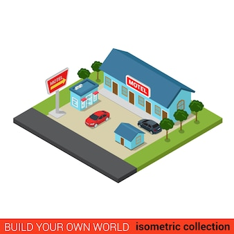 Piatto isometrico motel building block infografica concetto di viaggio vacanze road trip turismo guesthouse e parcheggio costruisci la tua collezione mondo infografica