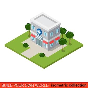 Piatto isometrico farmacia farmacia building block infografica concetto pillole punto vendita prescrizione costruisci la tua collezione mondo infografica